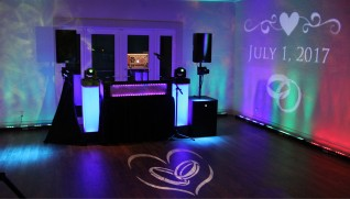 Multi colored set up dj booth